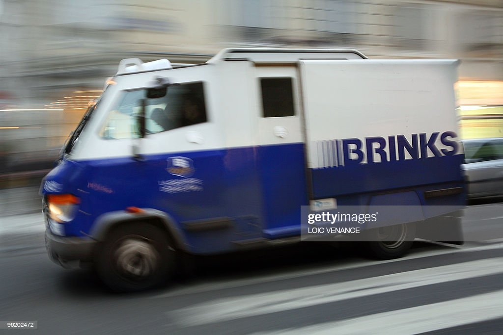 This picture taken on January 18 2010 shows a Brinks armored vehicle in Paris AFP PHOTO LOIC VENANCE