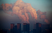 This picture taken on January 22 2013 shows a thermal power plant discharging heavy smog into the air in Changchun northeast China's Jilin province...