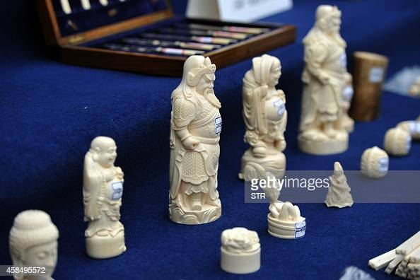 This picture taken on January 22 2014 shows illegally imported ivory products confisticated by Yunnan police in Kunming southwest China's Yunnan...