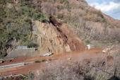 This picture taken on January 26 2009 shows a general view during works after a landslide on a highway between Salerno and Reggio de Calabre which...