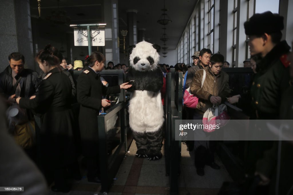 This picture taken on January 26, 2013, the first day of Spring Festival travel season, shows a lady wearing a panda constume (C) has her ticket checked before taking her train back to Cangzhou in Hefei from Beijing. The lady, together with other three female friends, said she would like to feel the special atmosphere of the Spring Festival travelling in this way. CHINA OUT AFP PHOTO