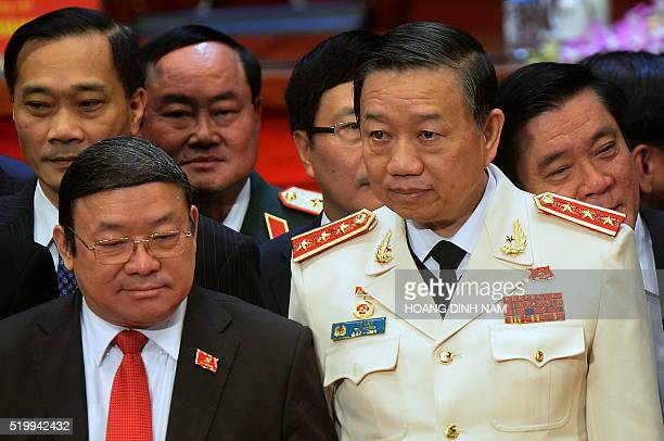 This picture taken on January 28 2016 shows newly elected politburo member Gen To Lam posing with others members of the Vietnam Communist Party's...