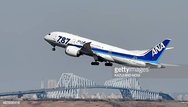 This picture taken on January 29 2015 shows an All Nippon Airways 787 Dreamliner taking off from Tokyo's Haneda airport Japan's All Nippon Airways...