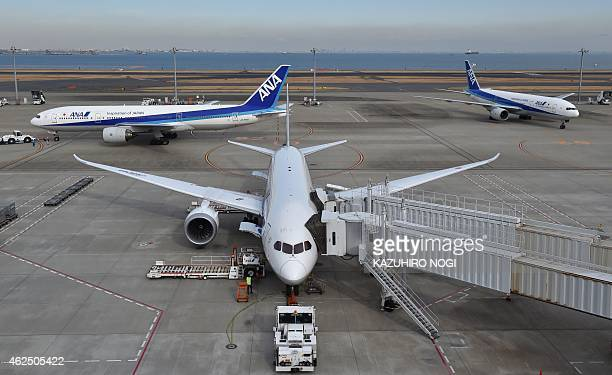This picture taken on January 29 2015 shows Japan's All Nippon Airways planes on the tarmac at Tokyo's Haneda airport Japan's All Nippon Airways said...