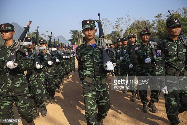 This picture taken on January 31 2015 shows soldiers from the Karen National Liberation Army 's Seventh Brigade parading as part of celebrations...