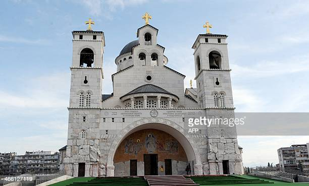 This picture taken on January 31 shows a view of the newlybuilt Orthodox 'Church of Resurrection' in Podgorica where a fresco bears the portraits of...