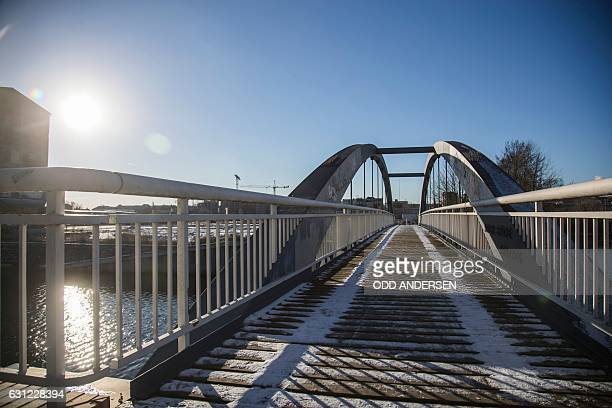 This picture taken on January 6 2017 shows the Kieler Brucke pedestrian bridge in Berlin where Anis Amri the Tunisian man who drove a truck into a...