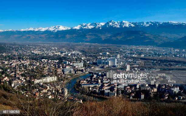 This picture taken on January 7 2014 shows the city of Grenoble and Grenoble's University Hospital Centre in the French Alps where retired seventime...