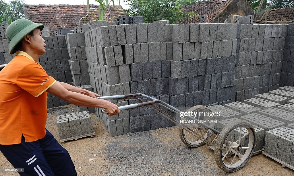 This picture taken on January 8, 2013 shows a man pushing a trolley at a workshop that produces bricks made of stone and cement at a village in Trieu Son district, north-central province of Thanh Hoa. In order to save agricultural land and to protect the environment from toxic smoke produced by tileries, people are advised to reduce using traditional terracotta bricks in building houses. AFP PHOTO / HOANG DINH Nam