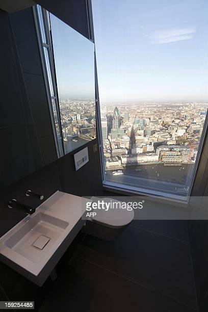 This picture taken on January 9 2013 shows the view of London as seen from a toilet on the 68th floor of 'The Shard' in central London The Shard...