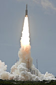 This picture taken on July 1 2009 in Kourou shows Europe�s Spaceport Ariane 5 ECA being launched into the sky with the TerreStar1 telecommunications...