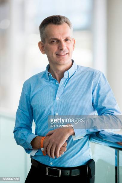 This picture taken on July 12 2017 shows Sentient Technologies founder Antoine Blondeau posing at the RISE technology conference in Hong Kong...