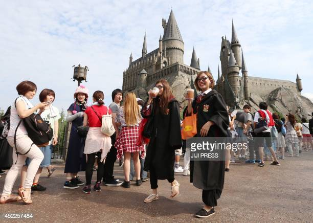 This picture taken on July 14 2014 shows the new attraction 'The Wizarding World of Harry Potter' from the mega hit movie Harry Potter at the movie...