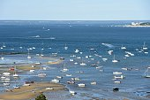This picture taken on July 15 2016 shows sailing boats in the Arcachon basin from the top of the renovated lighthouse in CapFerret southwestern...