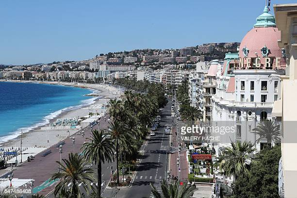 This picture taken on July 15 shows the site where a truck drove into a crowd watching a fireworks display on the Promenade des Anglais seafront near...