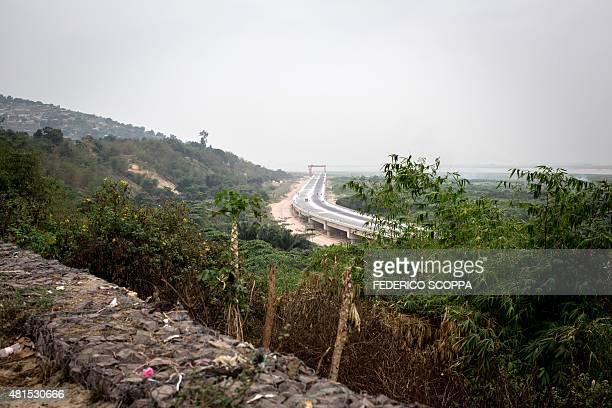 This picture taken on July 20 2015 shows the construction of a new road linking the Kintele Stadium to the city of Brazzaville Brazzaville will host...