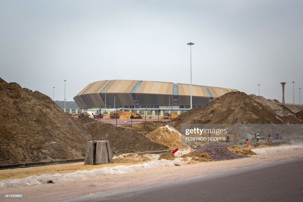This picture taken on July 20 2015 shows the construction of the Kintele Stadium near to Brazzaville Brazzaville will host the 11th edition of the...