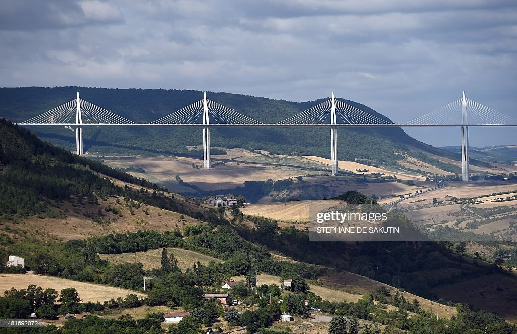 This picture taken on July 23 2015 shows a general view of the Millau viaduct in Millau southwestern France AFP PHOTO / STEPHANE DE SAKUTIN
