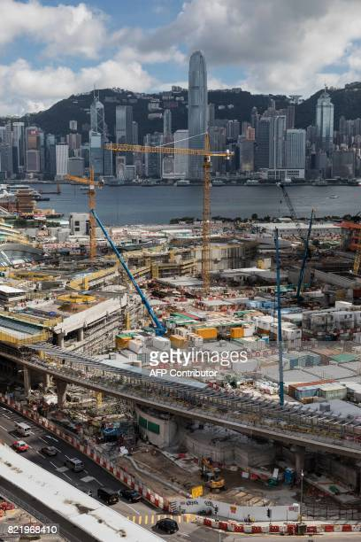 This picture taken on July 24 2017 shows the construction site of the West Kowloon terminus of the highspeed rail link which will connect the city to...