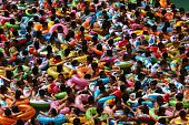 This picture taken on July 25 2014 shows people cooling off in a waterpark in Suining southwest China's Sichuan province Meteorological departments...