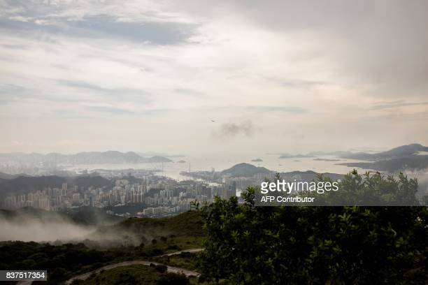 This picture taken on July 26 2017 shows the view near the Ma On Shan radar station used for weather forecasting in Hong Kong With Hong Kong's summer...