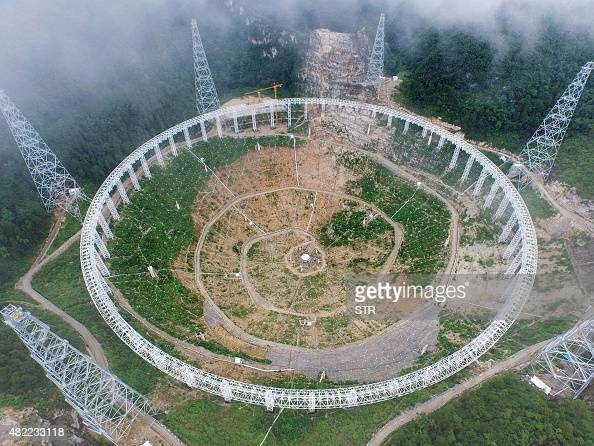 This picture taken on July 29 2015 shows a fivehundredmetre Aperture Spherical Radio Telescope under construction in Pingtang southwest China's...