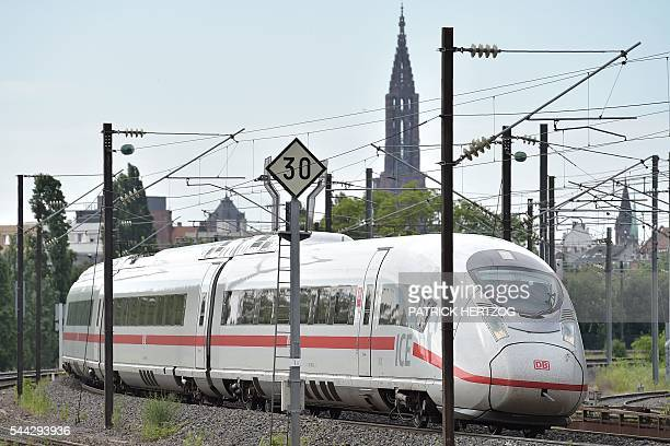 This picture taken on July 3 2016 shows a German ICE highspeed train leaving the city of Strasbourg eastern France on the first day of the new...