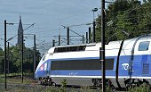 This picture taken on July 3 2016 shows a TGV high speed train arriving in Strasbourg eastern France on the first day of the new EastEuropean LGV...