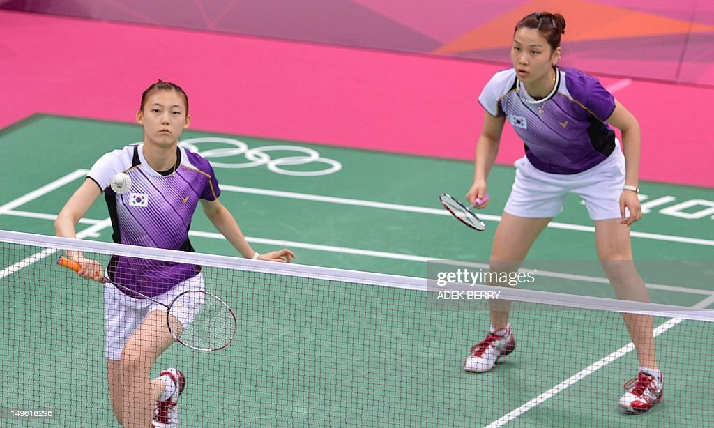 This picture taken on July 31 2012 shows Kim Ha Na and Jung Kyung Eun of South Korea playing a shot during their women's doubles badminton match...