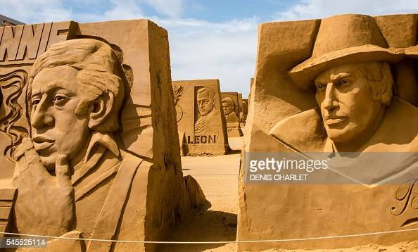 This picture taken on July 8 2016 shows a sand sculpture of Serge Gainsbourg on the Touquet Beach northern France Around 3000 tons of sand were...