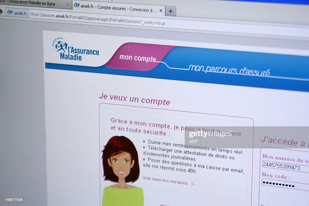 This picture taken on July 9, 2012 in Paris shows the homepage of Ameli.fr, the website of the French social medical care.