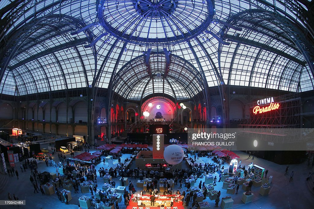 This picture taken on June 11, 2013 shows the glass roof of the Grand Palais in Paris, during the Cinema Paradiso, the transformation of the Grand Palais into a giant indoor drive-in replica by French cinema company MK2, that takes place from June 10 to June 21. AFP PHOTO / FRANCOIS GUILLOT