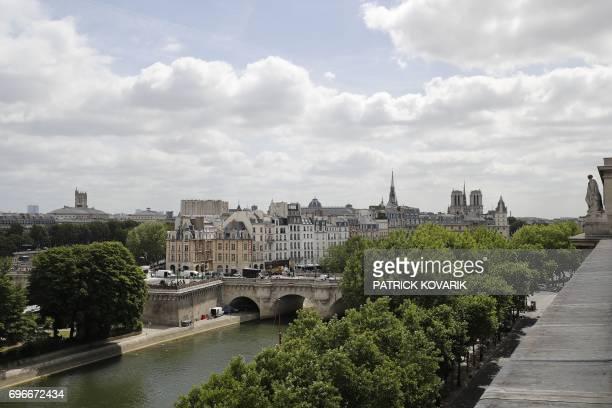 This picture taken on June 16 2017 in Paris shows the Ile de la Cité and the Pont Neuf / AFP PHOTO / PATRICK KOVARIK