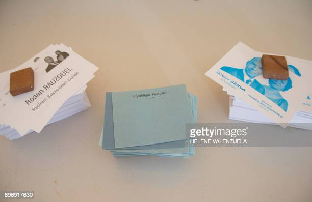 This picture taken on June 17 shows ballots during the second round of the French legislative elections at a polling station in PointeaPitre / AFP...