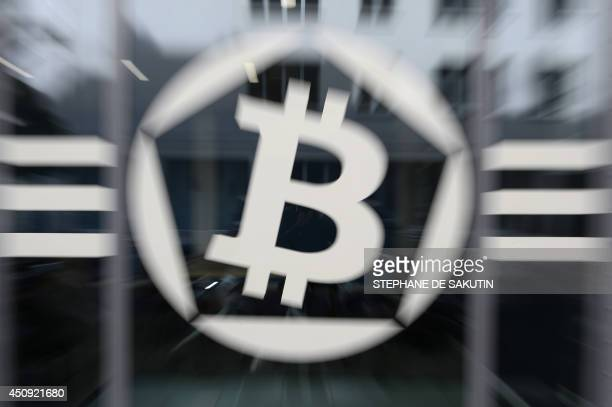 This picture taken on June 20 shows an entrance of La Maison du Bitcoin in Paris AFP PHOTO / STEPHANE DE SAKUTIN