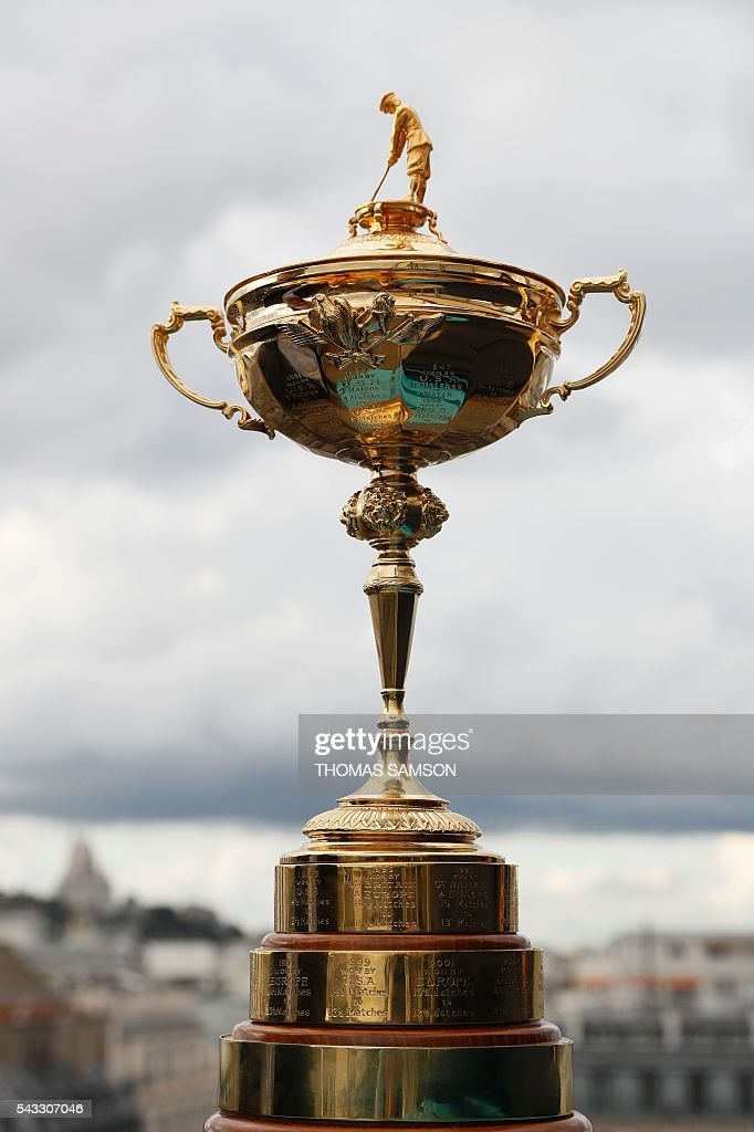 This picture taken on June 27, 2016 in Paris shows the Ryder's Cup Trophy. AFP and FFG have signed on June 25, 2015 a partnership ahead of the Ryder Cup scheduled in France in 2018. / AFP / Thomas SAMSON