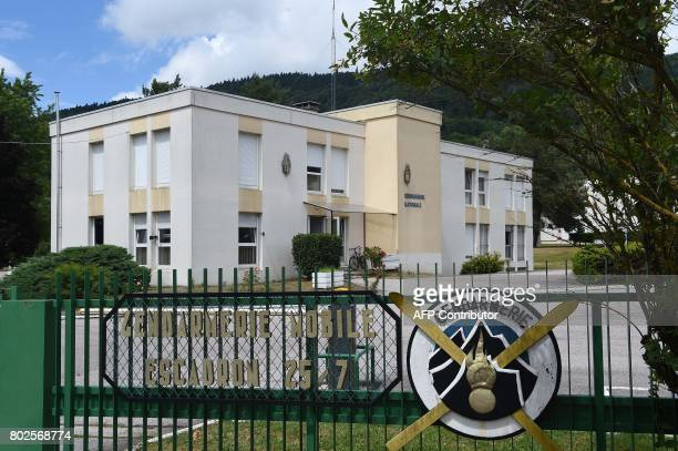 This picture taken on June 28 2017 shows the front of the Gendarmerie in SaintEtienneLesRemiremont eastern France where Murielle Bolle was taken in...