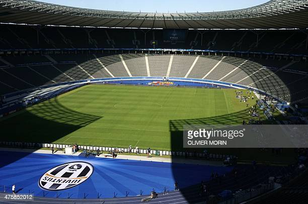 This picture taken on June 4 2015 shows the Berlin's Olympic Stadium ahead of the UEFA Champions League final between Juventus Turin and FC Barcelona...