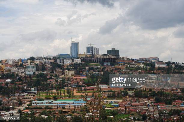 This picture taken on March 11 2014 shows a view of the centre of the Rwandan capital Kigali The Rwandan Development Board says that they are 'fast...