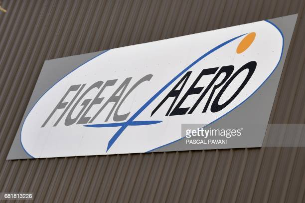 This picture taken on March 14 2017 shows the logo of the FigeacAero company aeronautic subcontractor for Airbus Boeing Bombardier and Embraer...