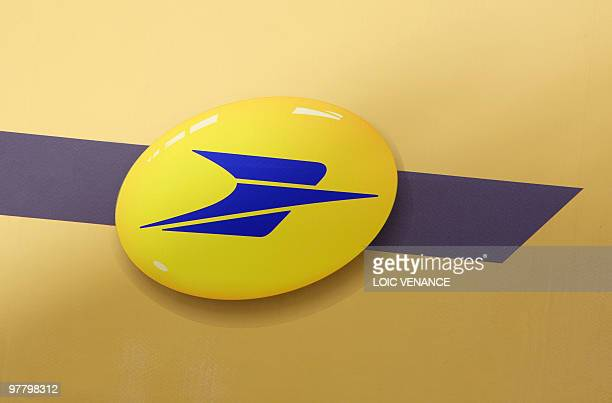 This picture taken on March 3 2010 in Paris shows the logo of La Poste the French Postal service AFP PHOTO LOIC VENANCE