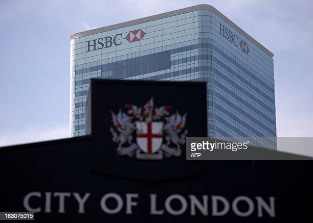 This picture taken on March 4 2013 shows the UK headquarters of HSBC at Canary Wharf in London Asiafocused bank HSBC said on March 4 2013 that net...