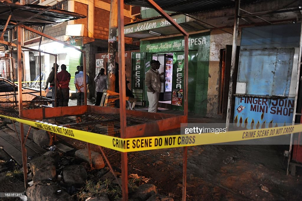 This picture taken on March 5, 2013 in the Somali district of Nairobi, shows the place where a blast occurred earlier that day. Two blasts struck the Somali district of the Kenyan capital on March 5, leaving at least one person wounded, the Red Cross said on its Twitter feed. Nairobi police chief Benson Kibui confirmed only one explosion, saying it happened when a homemade explosive device was thrown at a kiosk, wounding a woman who was inside. 'The device landed near a bar where people had been watching the election results on television,' he added.