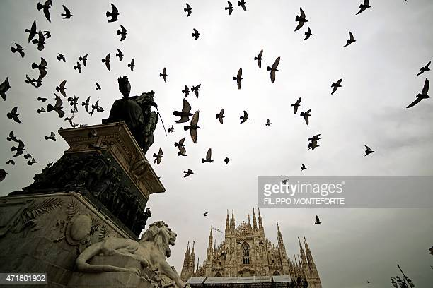 This picture taken on May 1 2015 shows pigeons flying over Duoma Cathedral on the official opening of the Universal Exposition EXPO2015 on May 1 2015...