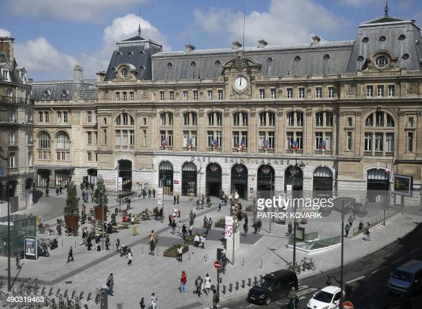 This picture taken on May 14 2014 shows an overview of the newly renovated SaintLazare train station's forecourt in Paris AFP PHOTO / PATRICK KOVARIK