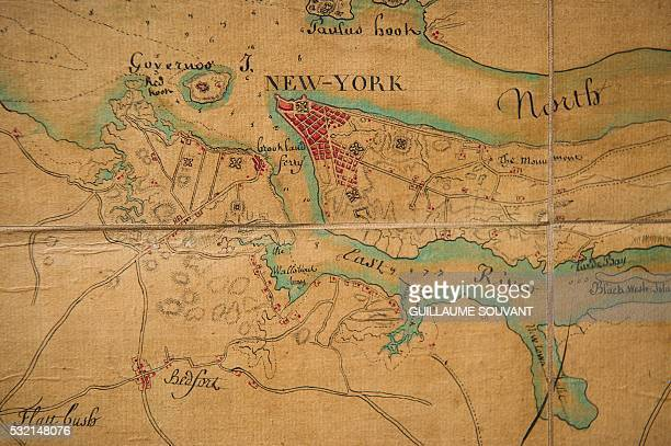 This picture taken on May 16 in Montbazon shows a close up of a New York map from 1781 Six general staff handwritten plans of New York the harbor of...
