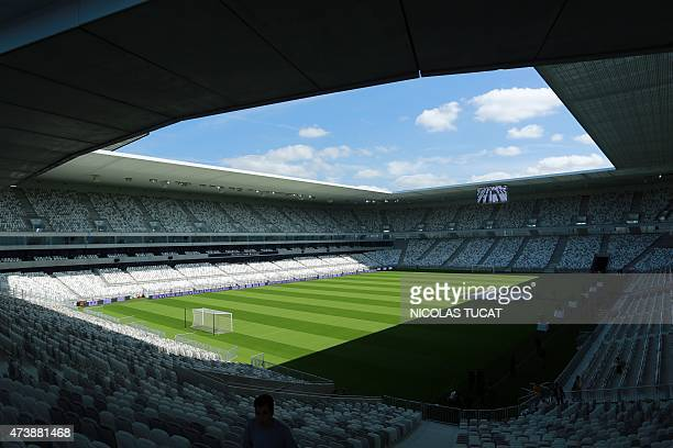 This picture taken on May 18 2015 shows a general view of the new stadium in Bordeaux on its innaugural day AFP PHOTO / NICOLAS TUCAT