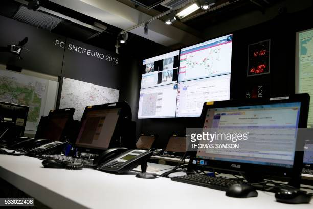 This picture taken on May 19 2016 shows a general view of the 'PC Sncf Euro 2016' room at the Gare de l'Est railway station in Paris set up for the...