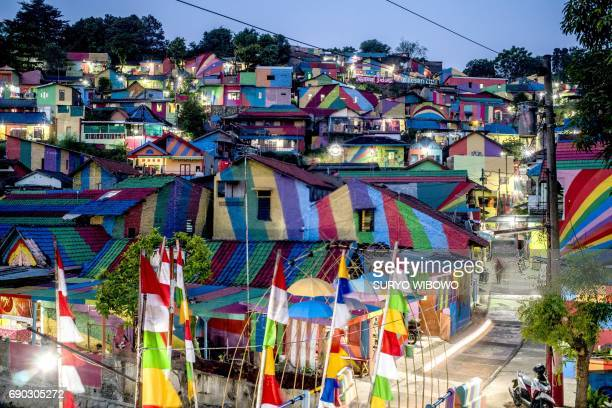 TOPSHOT This picture taken on May 23 2017 shows an Indonesian hamlet dubbed 'the rainbow village' in Semarang central Java that has become an...