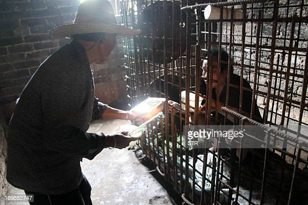 This picture taken on May 24 2013 shows Wu Yuanhong a mentally ill Chinese man gets his lunch served to him by his mother in a cage which he has been...